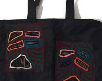 Black Canvas Tote Bag with Mola Design- Panama Mola Bag