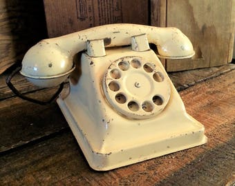 Vintage Tin Telephone With String Cord - Rustic Off White Pressed Steel Toy