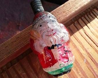 Old Glass Santa Light Bulb Ornament - Original Vintage Christmas Decoration