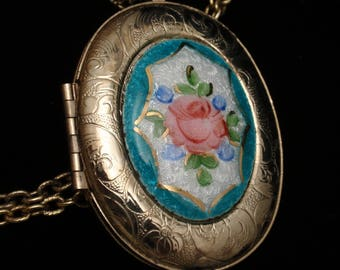 Floral Locket Pendant Necklace
