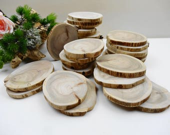 "3""-4"" Tree Slices, Wood Slices, Rustic Wedding Decor, Woodworking, Crafts, DIY, Wood Blanks, Reclaimed Wood, Vintage Wood,F28, Set of 10"