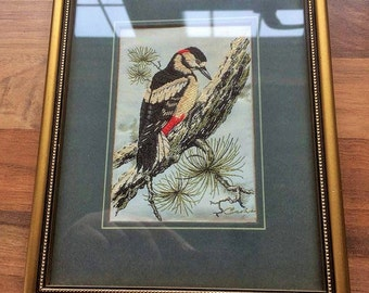 The Great Spotted Woodpecker woven picture in silk and rayon