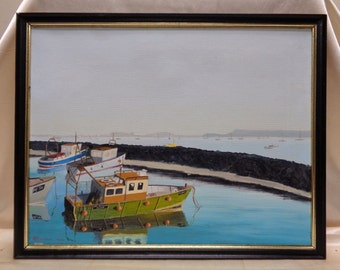 R.L. Creedon '86 California Boat Port Oil Painting w. Black Vintage Wooden Frame