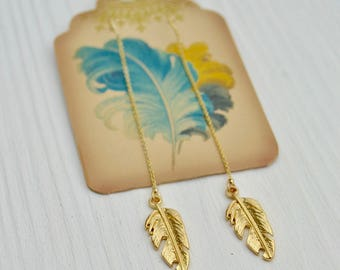 Gold feather Threader Earring, Long dangle gold earrings, Dainty gold earrings, Feather earrings, Minimalist earrings, Fashion Jewelry