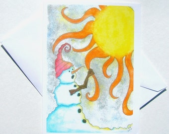 NEW - Set of 5 Blank Inside Note Cards - You're Coming With Me - Snowman, Note Card, Art Card