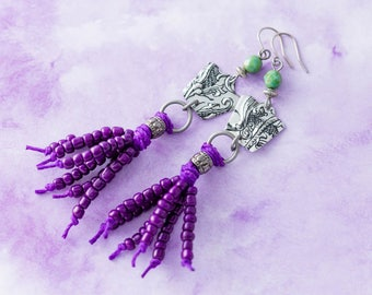 Very Long Silver, Turquoise, and Purple Beaded Tassel Vintage Tin Earrings with Antique Silver Findings, Purple Tassel Jewelry