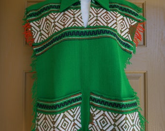 Woven green cape shirt small