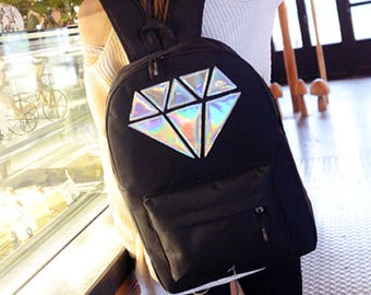 Unique Hologram laser diamond patched on backpack candy raver music festival summer cute Japan Harajuku girl accessory