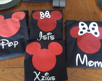 Disney Family Matching Shirts/Mickey Mouse Inspired with Glitter option Available  Personalized