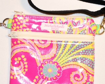 Pink Floral LAMINATED Crossbody / Fanny Pack - Adjustable Strap - 2 Zippers - Jennifer Paganelli Pink Poodle Fabric - Waterproof