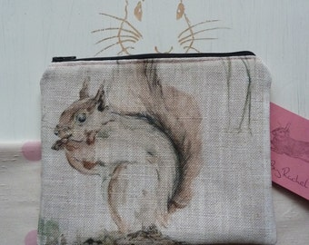 Handmade Squirrel Makeup Bag Purse Cosmetic Pouch Padded Lined