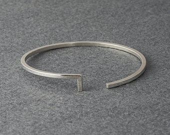 Open Silver Bangle // Geometric cuff // Open bangle // Open Cuff // Silver Bangle // Sterling Silver Bangle // Geometric Bangle