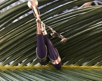Purple clip on earrings