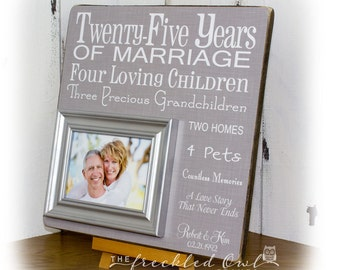 25th Anniversary Gift, Silver Anniversary, Twenty Five Years of Marriage Picture Frame, Grandparent Gift, Parents Gift, Typography 16 X 16