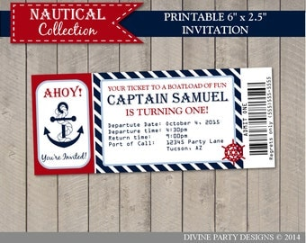 "PERSONALIZED Nautical Boy 6 x 2.5"" Ticket Style Printable Birthday Party Invitation / Ocean / ..."