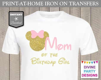 INSTANT DOWNLOAD Print at Home Pink and Gold Mouse Mom of the Birthday Girl Printable Iron On Transfer / T-shirt / Family / Item #3105