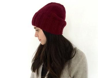 Slouchy beanie, Mens winter hat, Womens winter hat, slouchy beanie hat, winter hat, burgundy beanie. beanie for men, warm winter hat