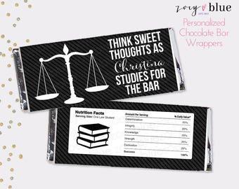 Bar Exam Chocolate Bar Wrapper - Law School Graduation- Black White Law Student Graduation- Justice Scales Favor Candy Wrap - Digital File