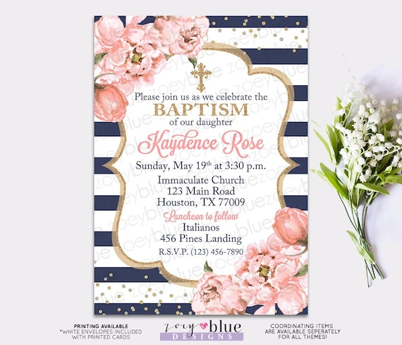 Girl Baptism Invitation Blush Pink Navy Gold Baptism Invite