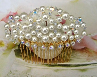 Hair comb wedding, Bridal hair accessories, Bridal Hair Comb white Wedding, gold plated pearls