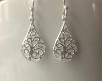 Sterling Silver Filigree Teardrop Earrings, Sterling Silver Earrings, Filigree Earrings, Teardrop Earrings, Jewellery Gift, Silver Earrings