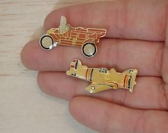 Vintage Enamel Vehicle Bar Pins--Lot of 2. car plane automobile auto red white model t a steampunk diesel dieselpunk