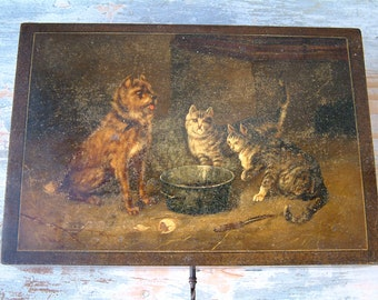 Antique french wooden storage box. Lock and key. Lithograph cats dogs cooking dinner. Box with key. Writing box. Sewing box. Desk storage