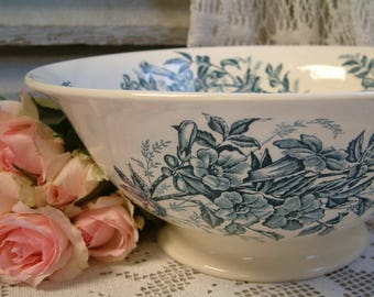 Antique french teal transferware large salad serving bowl. Teal transferware. Jasmine. Butterflies. Blue green transferware. Antique bowl