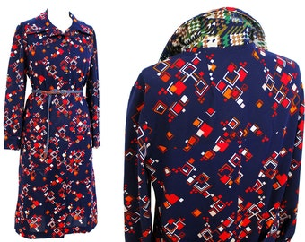 Vintage 1970s square print shirt dress | 70s dress | Maxie dress | Boho Dress
