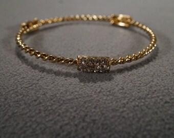 Vintage Art Deco Style Yellow Gold Tone Twisted Rhinestone Stations Bangle Bracelet jewelry    KW35
