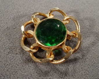 Vintage Art Deco Style Yellow Gold Tone Glass Stone Round Faux Emerald Pin Brooch Jewelry -K#72