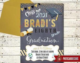 Graduation Invitation, Graduation Party Invitation, 8th Grade, High School, Graduation, Graduation Party, Card, Digital, Print file, Party