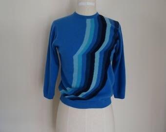 60's Cashmere Sweater Mad Men Ballantyne Scotland Blue Pullover Med