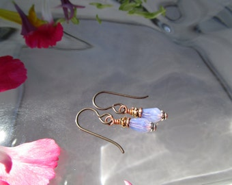 Hypoallergenic and Tiny Lavender Czech Glass Earrings Teeny Sweet Lavender Lightweight and Girly Earrings Sparkly Secure Niobium Ear Wires