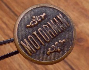 Vintage Brass Motorman Railroad Train Conductor Operator SINGLE Button 22756