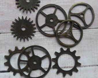 Metal Antique Steampunk Gear Mix Embellishment & Jewelry Supplies