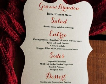 Fancy Shape Dinner Menu, Ornate Menu, 5x7 or smaller Reception Menu Cards - for weddings, bridal events, and dinner parties