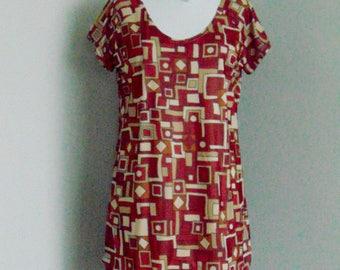 Retro Print Stretch Chiffon Dress.
