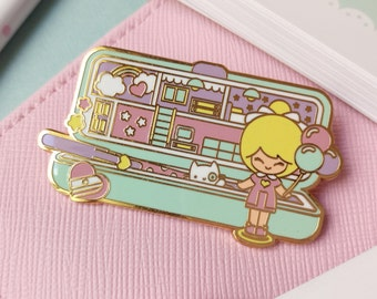 Enamel pin polly pocket style chic kawaii magic pastel kawaii cute pins pencil box