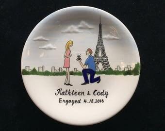 Engagement gift, custom ring dish, Hand Painted Ceramic Ring Dish, ring holder- Paris, Eiffle Tower, Anniversary, Valentine's Day