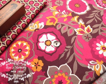 Red Floral on Brown