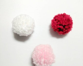Valentines Cat Toys, Solid Puffs Set of 6, Pom Poms, Cat Ball Toys, Optional Catnip