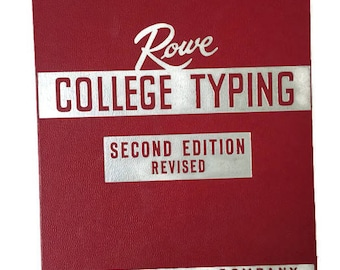 Vintage Mid Century Rowe College Typing Second Edition Typing Textbook Typing Book, Typewriter Book The H. M. Rowe Company
