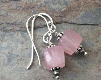 Rose Quartz Earrings with Sterling Silver and Pyrite, 1 inch