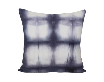 Shibori Grid Rebecca Atwood Designer Pillow Cover - 1 SIDED OR 2 SIDED - Made to Order - Choose Your Size