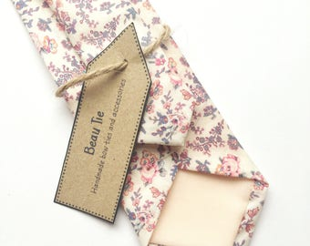 Floral tie, Mens skinny tie, wedding tie, Liberty print skinny tie, pink floral tie, men's floral tie