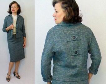 """1950s Suit / 50s Suit / Skirt Suit / Wool Suit / Tweed Suit / 1950s Wool Suit / 50s Wool Suit / Skirt & Jacket Set / Jacket Skirt Set / W25"""""""