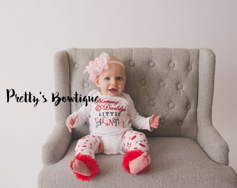 Mommy and Daddy's little Valentine Valentine's outfit shirt, headband, and legwarmers