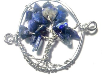 Lapis-lazuli chip life tree pendant for jewelry making