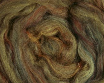 Dyed Merino - Sage - Multicolor commercial dyed - combed top roving spinning felting fiber fibre arts - moss green brown
